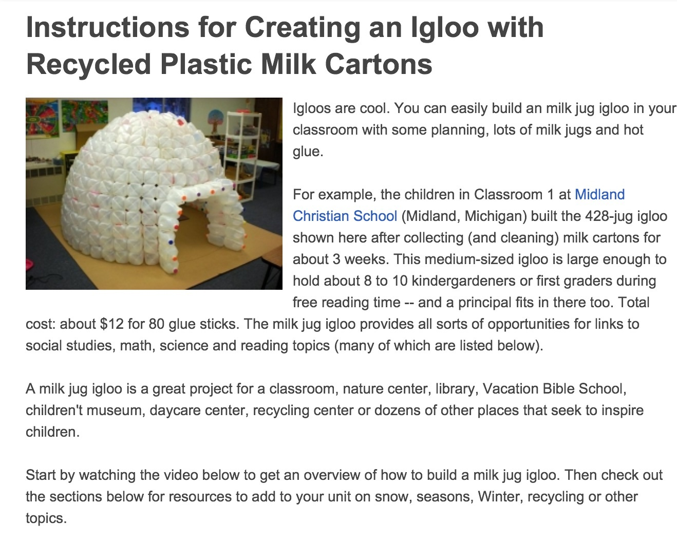 Igloo from milk cartons circuit diagram maker for How to build an igloo out of milk jugs